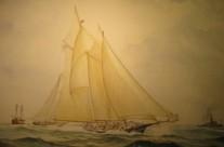 """Madeleine defeats Countess of Dufferin"""" – America's Cup 1876 Dall'acquerello originale di Sandro Feruglio Milano 2010"""