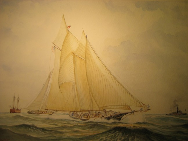 "Madeleine defeats Countess of Dufferin"" – America's Cup 1876 Dall'acquerello originale di Sandro Feruglio Milano 2010"
