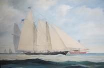 """09. Regata """"Coppa delle 100 Ghinee"""" 1851- """"America"""" nei pressi di """"Nab Light"""" passa al comando"""