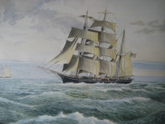"""Riducendo vela sul far della sera – Brigantino a palo """"Adamo"""" – Armatore Pardodi Di Genova"""