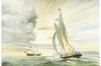 """Verso la Vittoria"""" – Coppa delle 100 Ghinee- 23 agosto 1851- Dall'acquerello originale di Sandro Feruglio – Milano 2010"""