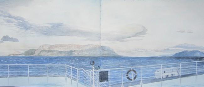 Studio – veduta dell'isola di Tavolara entrando con il traghetto nel golfo di Olbia