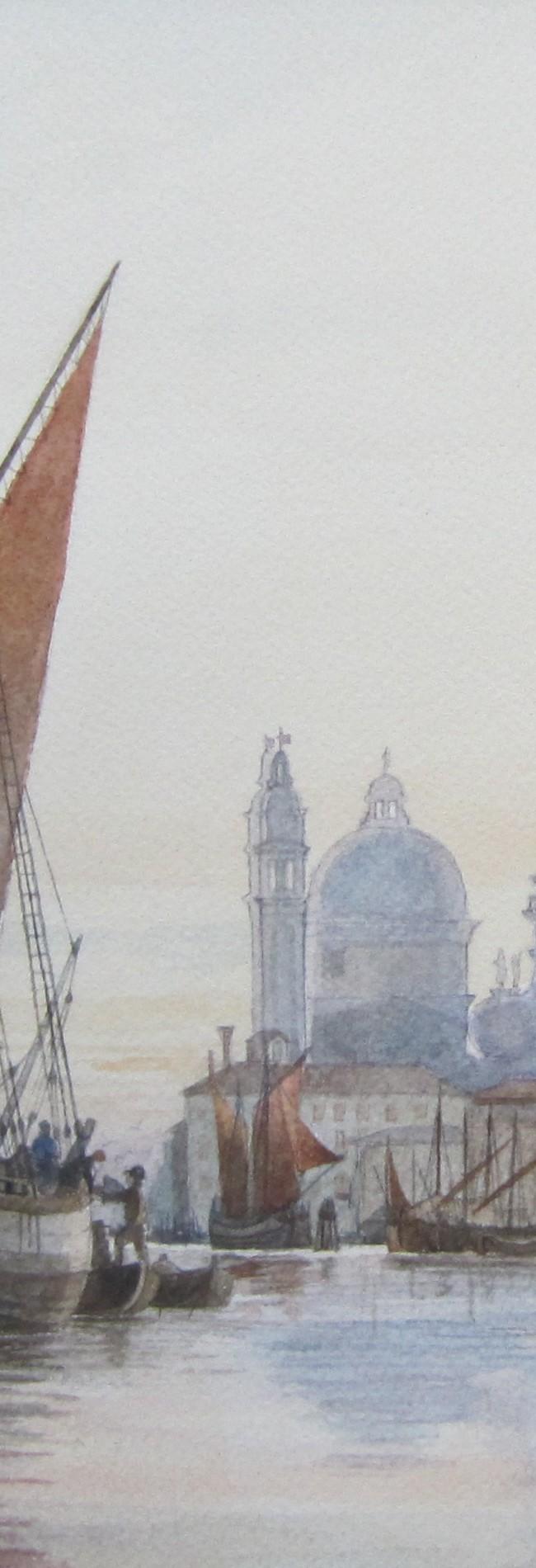 Fine del 1800. Trabaccoli ormeggiati davanti a Punta della Salute e ai magazzini del sale.