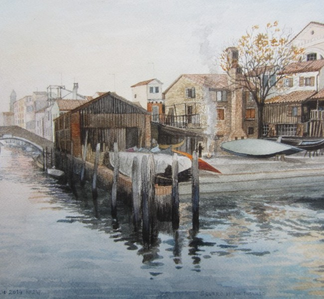 Lo squero di San Trovaso alle Zattere ( Venezia) in una giornata d'autunno
