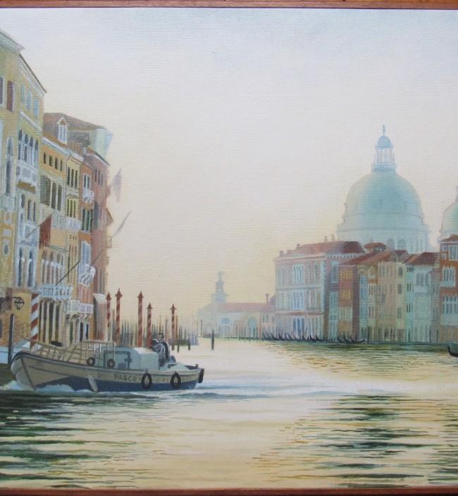 Veduta del Canal Grande a Venezia verso punta della Salute