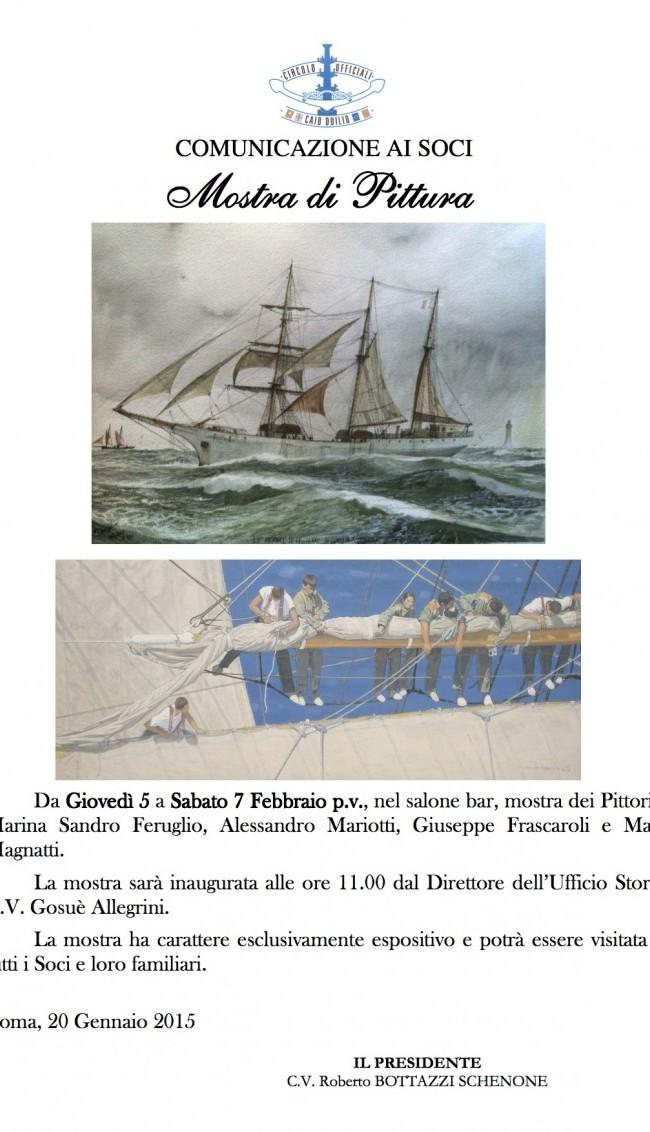 Mostra collettiva di pittura di marina presso il Circolo Ufficiali di Roma